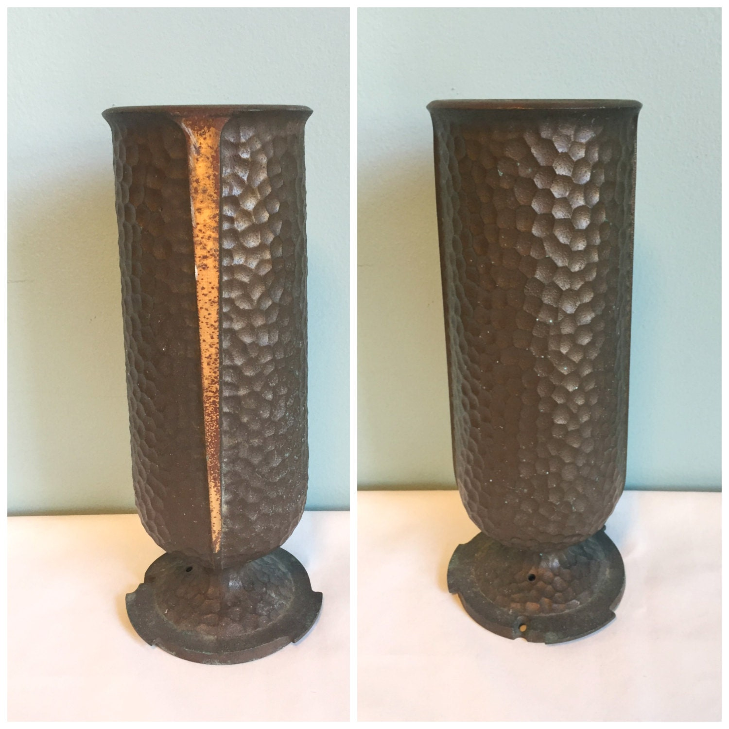 Vintage Antique Hammered Metal Cemetery Vase Retro Graveyard