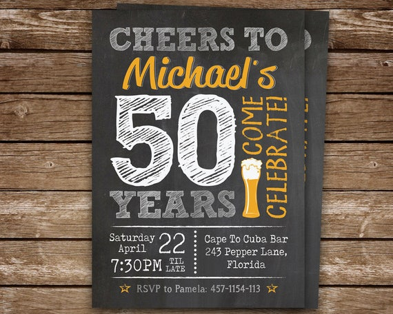 50th birthday invitation for men chalkboard invite for man 30th il570xn filmwisefo