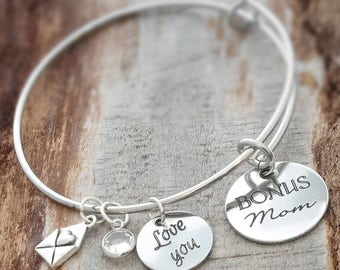 Bonus Mom Wire Adjustable Bangle Bracelet