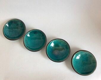 Made to order - Set of four raku bowls - Blue raku dishes - set of four raku dishes - raku ceramic bowls