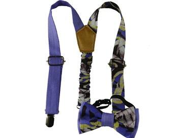 newborn bow tie and suspenders, baby bow tie and suspenders, toddler bow, African print suspenders, ankara bow tie, purple suspenders