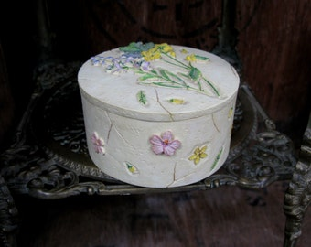 Wildflower Box, Ceramic Box, Floral Box, Flower Box, Vintage Box, Trinket Box, Jewellery Box, Keepsake Box, Jewelry Box, Ceramic Trinket Box