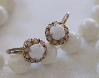 Fantastic Vintage Dainty Milk Glass Screw Back Earrings Signed Vargas