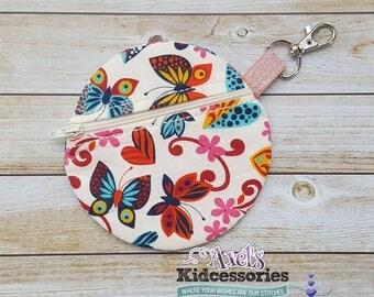 Butterfly Coin Purse - Round Zipper Bag - Round Zipper Pouch - Purse Organizer - Fabric Zip Pouch - Zipper Bag