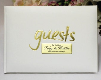 Personalised Wedding/Engagement White & Gold Guest Book