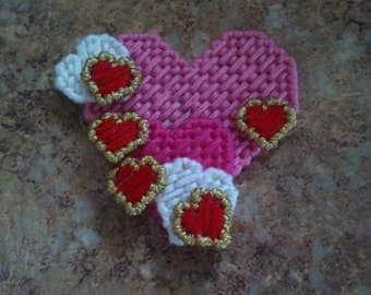 Handmade Plastic Canvas Hearts Magnet