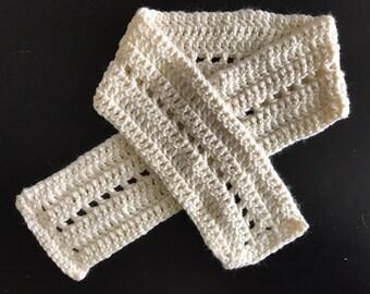 Crochet Scarf, Cream Scarf, Hand Crocheted Scarf, Winter Accessory