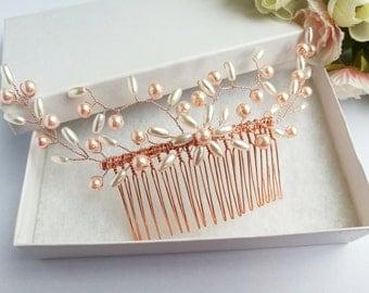 Pearl hair comb, pearl hair piece, wedding hair comb, wedding hair piece, bridal hair comb, bridal hair piece, rose gold hair comb