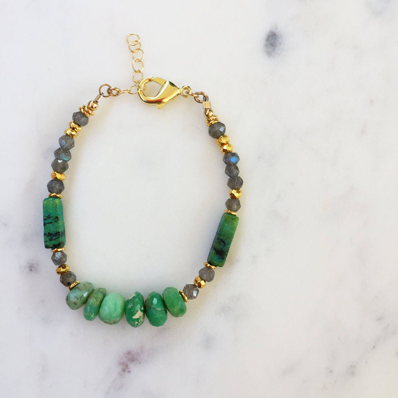 Chrysoprase Beaded Bracelet | Bridesmaid Jewelry | Green Beaded | Gypset | Raw Gemstone