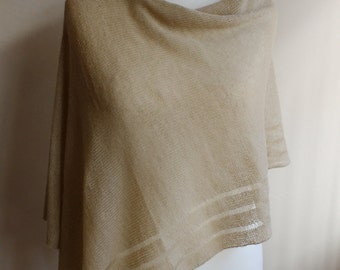 Mohair yarn wrap, mohair sweater poncho, knitted wool poncho sweater, wedding shawl, knitted chunky scarf, natural beige poncho