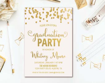 Pink & Gold Graduation Party Invitation - Confetti Graduation Invitation - Printable Invite