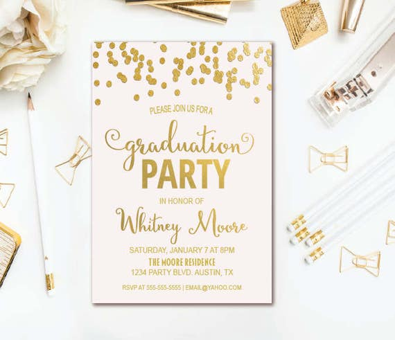 Pink gold graduation party invitation confetti graduation il570xn filmwisefo