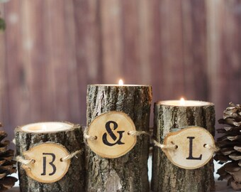 Personalized Candle Holder -  Tree Bark Candle Holder - Rustic Home Decor - Log Slice Candle - Personalized Gifts - Hostess Gift - Under 25