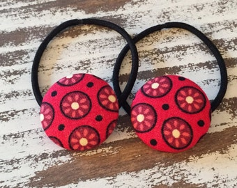 Red Flower Button Ponytail Holder – Red Retro Hair Tie - Rockabilly Hair Accessory – Red Vintage Hair Elastic - Back to School Hair Elastic