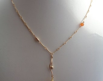 Gold chain with carnelian, 585 gold filled, in beautiful design with Y optics