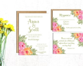 Floral Wedding Invitation, Pink And Coral Wedding Invite, Floral Invite,  Floral Wedding,