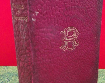 Antique 1919 Red Moroccan Leather Bound Poetry Book - The Poems of Robert Browning