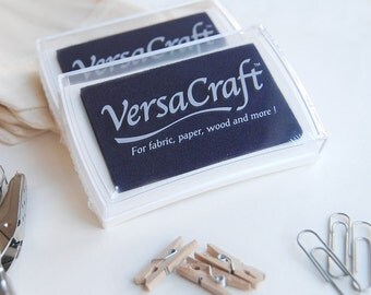 VersaCraft Midnight blue, dark blue ink pad, navy blue ink, craft supply, scrapbook ink, blue ink pad, blue stamp pad, DIY, blue fabric ink