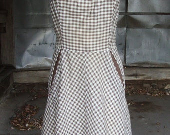 Vintage 1950's Brown and White Cotton Gingham Day Dress * M