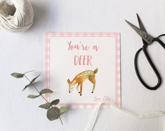 You're a Deer Valentine Gift Tag, Watercolor Deer Gift Tag, You're a Deer Valentine Tags, Preschool Gift Tag, School Gift Tag, Favor Tags