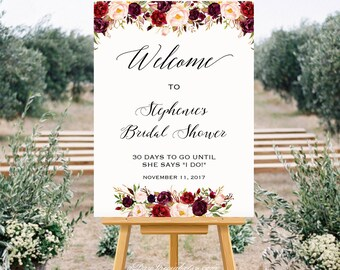 Printable All Purpose Welcome Sign Templates, Burgundy Floral Wedding Bridal Shower Baby Shower Poster 24x36 18x24 DIY Instant Download #101