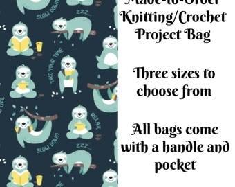 Knitting Bag, Socks, Large, Jumbo, Sweater, Zippered Bag, Wedge Bag, Crochet Bag, Cross Stitch Project Bag, Lazy Sloths