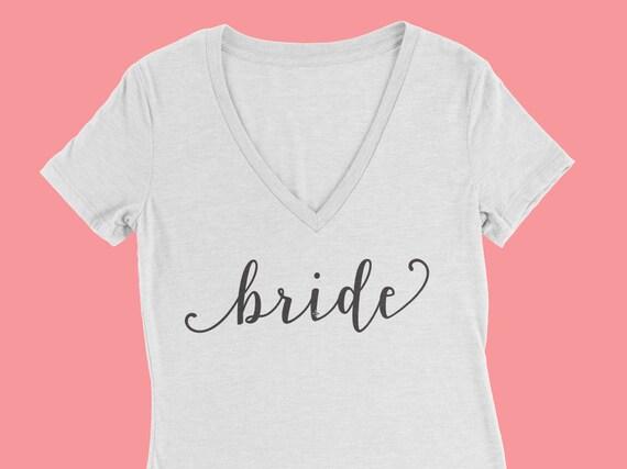 Bride Gift. Bridal Shower Gift. Bride Shirt. Bride T-shirt. Bride V-neck Shirt. V-neck Tshirt. White t-shirt. Bride to be Gift. Bride tshirt