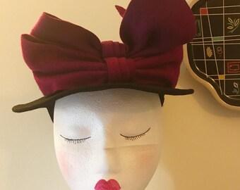 Vintage Amazing 1930s 1940s Black Felted Bow Beret Hat