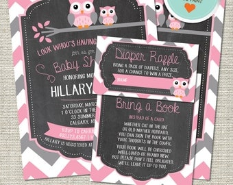 Owl Baby Shower Invitation, Owl Invitation, Owl, Pink, Gray, Chevron, Branch | DIY
