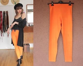 1960's Stretch Orange Caleçon / Leggings - 60's Bright Orange Pants - Size S to M - #1166