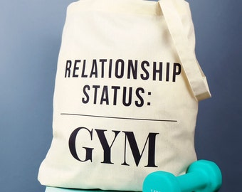 Relationship Status: Gym Bag - gym bunny - gym gifts - fitness gifts - gym bag - tote bag - workout bag - running bag - kit bag