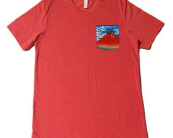 Red Fuji Pocket Shirt (Katsushika Hokusai)