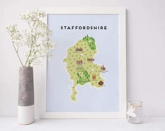 Map of Staffordshire - Illustrated Map of Staffordshire