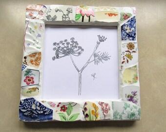 Floral Mosaic frame. Mosaic picture frame. Fennel mosaic. Garden Herb art. Flower mosaic. Pen & ink print. Vintage china. Mosaic art frame