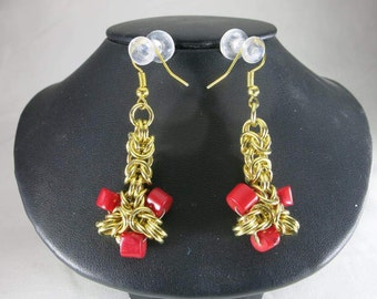 Byzantine and coral earrings, byzantine chainmaille, red coral, brass byzantine