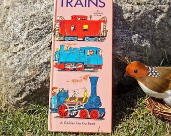 Trains by Richard Scarry 1967 Go-Go Book Golden Press Children's Full Color Hardcover Edition