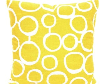 Yellow Decorative Throw Pillow Covers, Cushions, Corn Yellow White Freehand Geometric Couch Pillows Euro Sham Cushions One or More All Sizes