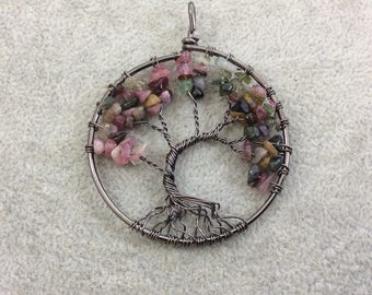 "2"" (50mm) Gunmetal Plated Copper Wire Wrapped Tree of Life Focal Pendant with Mixed Tourmaline Chip Beads - Sold Individually/Random"