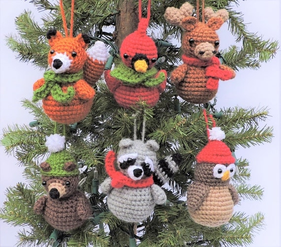 Amigurumi Woodland Animals Patterns : Crochet Christmas Pattern, Crochet Ornament Pattern ...