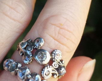 Early Victorian Scrolling Design Rose Cut Diamond Ring with 14k Gold