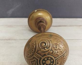 Victorian Brass Door Knob/ Art Nouveau Door Knobs/ Arts and Crafts Door Knob/ Brass Door Knobs/ Brass Hardware/ Doorknobs/ Door Knobs