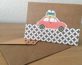 Handmade 'Pink Bug' Greeting Card