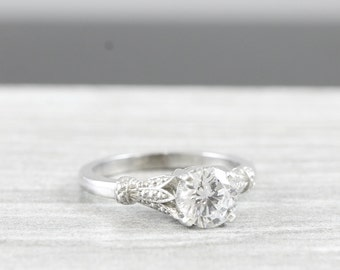 White sapphire engagement ring art nouveau 1900's inspired band 14k unique ring for her