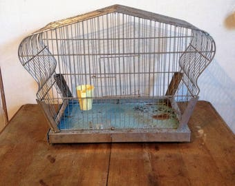 Vintage Bird Cage, Crown Top, Chrome, Chippy, Shabby, Retro, Decor, Belgium Made, Hendryx Seed Cup