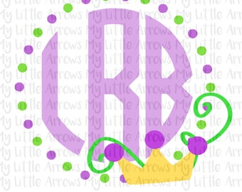Mardi gras svg - mardi gras monogram frame svg - SVG, DXF, EPS, png Files for Cutting Machines Cameo or Cricut  - cute mardi gras clip art