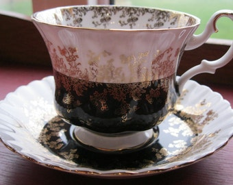 Royal Albert Regal Series Black and White Teacup and Saucer