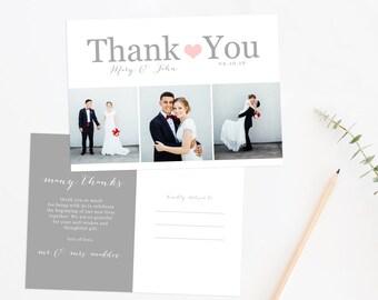Wedding Thank You Photo Postcard, Printable Photo Thank You, Wedding Thank You Card
