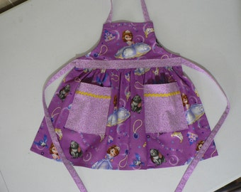 Girls Apron Sophia the First Apron with Pockets Toddler ApronGirls Apron