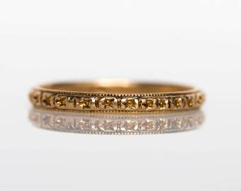 Circa 1920s Art Deco 14K Yellow Gold Wedding Band - VEG#773