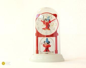VTG Mickey Mouse Pendular Desk Clock Disney 80s 90s Fantasia Mantel Table White Red Sorcerer's Apprentice